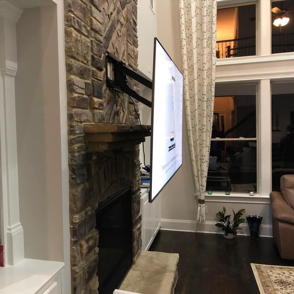 TV Mounting on Mantel mount in Sandy Springs, GA